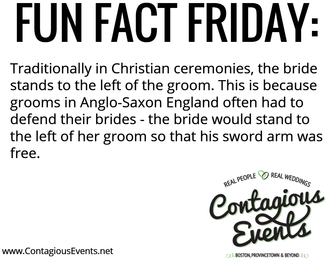 Traditionally in Christian ceremonies, the bride stands to the left of the groom. This is because grooms in Anglo-Saxon England often had to defend their brides - the bride would stand to the left of her groom so that his sword arm was free.