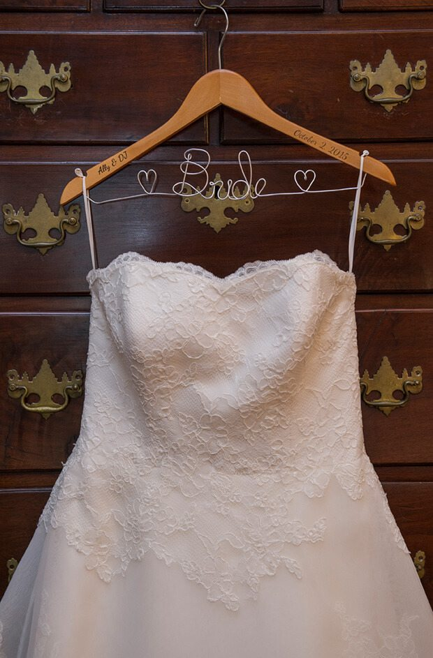 wedding dress on bride hanger