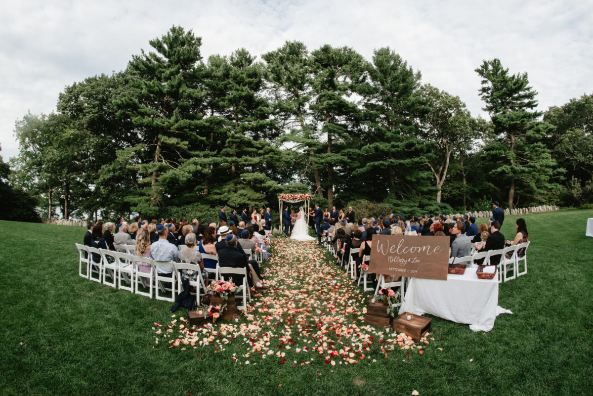 Outdoor Wedding Ceremony under Chuppah at The Estate at Moraine Farm in Beverly, Massachusetts